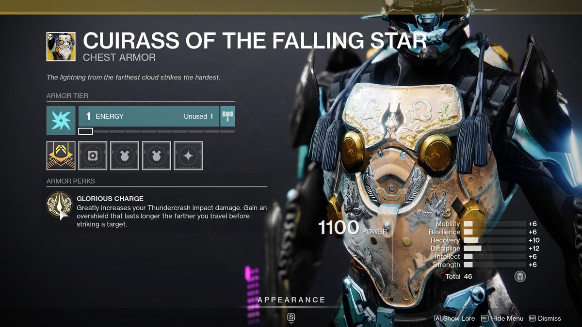 Cuirass of the Falling Star Destiny 2 Season of the Chosen description