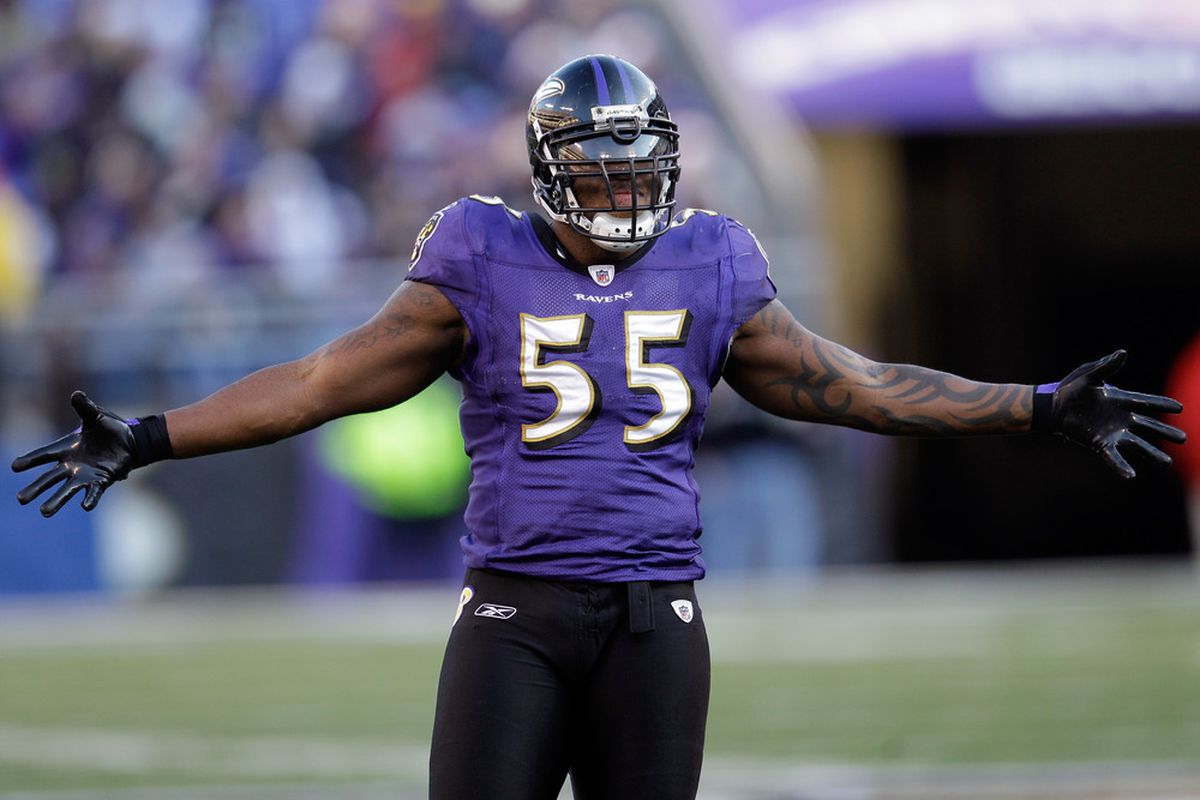 BALTIMORE, MD - DECEMBER 24:  Terrell Suggs #55 of the Baltimore Ravens motions to the crowd during the second half against the Cleveland Browns at M&T Bank Stadium on December 24, 2011 in Baltimore, Maryland.  (Photo by Rob Carr/Getty Images)