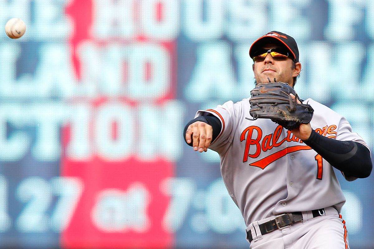 CLEVELAND - APRIL 17: Brian Roberts #1 of the Baltimore Orioles throws to first base during the game against the Cleveland Indians on April 17, 2011 at Progressive Field in Cleveland, Ohio.  (Photo by Jared Wickerham/Getty Images)
