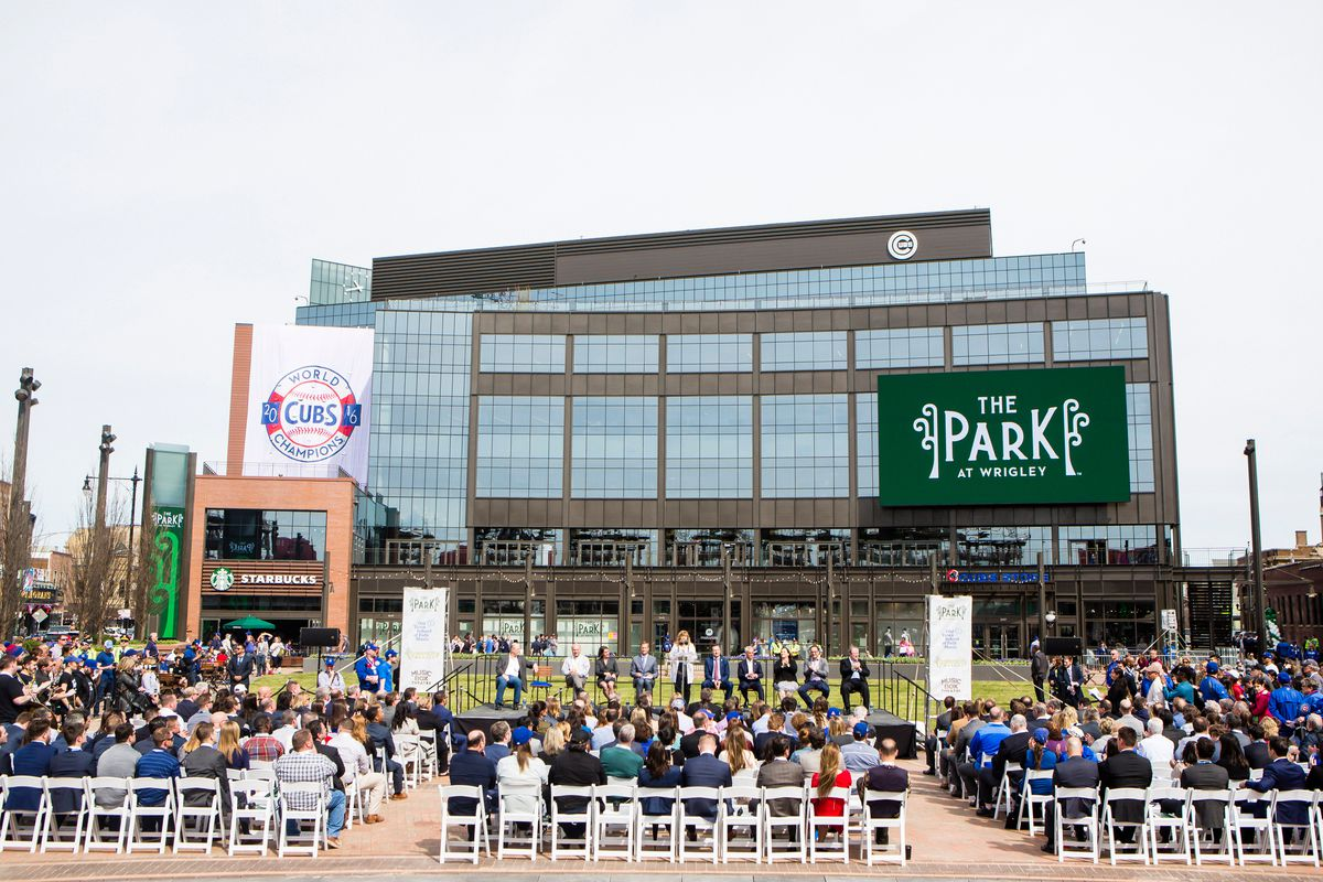Official ribbon-cutting for The Park At Wrigley, which opened in 2017. It has since been renamed Gallagher Way.