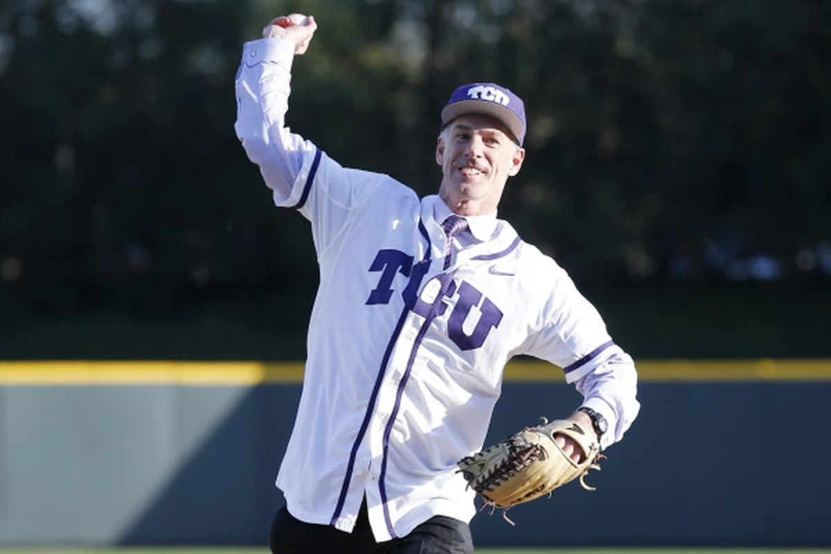 Jamie Dixon, TCU's new basketball coach, threw out the first pitch Tuesday before TCU faced ACU