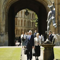 Elder D. Todd Christofferson, of the Quorum of the Twelve Apostles of The Church of Jesus Christ of Latter-day Saints, takes a tour with his wife, Sister Katherine Christofferson, at Christ Church, Oxford University, prior to speaking in Oxford, England, on Thursday, June 15, 2017.