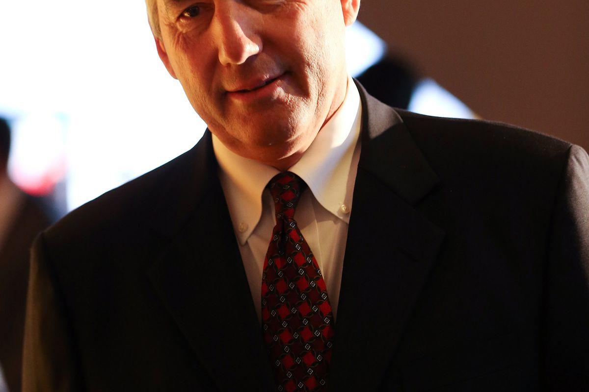 Jul 23, 2012; Dallas, TX, USA; Big 12 commissioner Bob Bowlsby speaks to reporters during Big 12 Media Day at the Westin Galleria.  Mandatory Credit: Kevin Jairaj-US PRESSWIRE