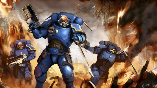 A group of Primaris Incursor scout marines advance into a hail of gunfire... stealthily.
