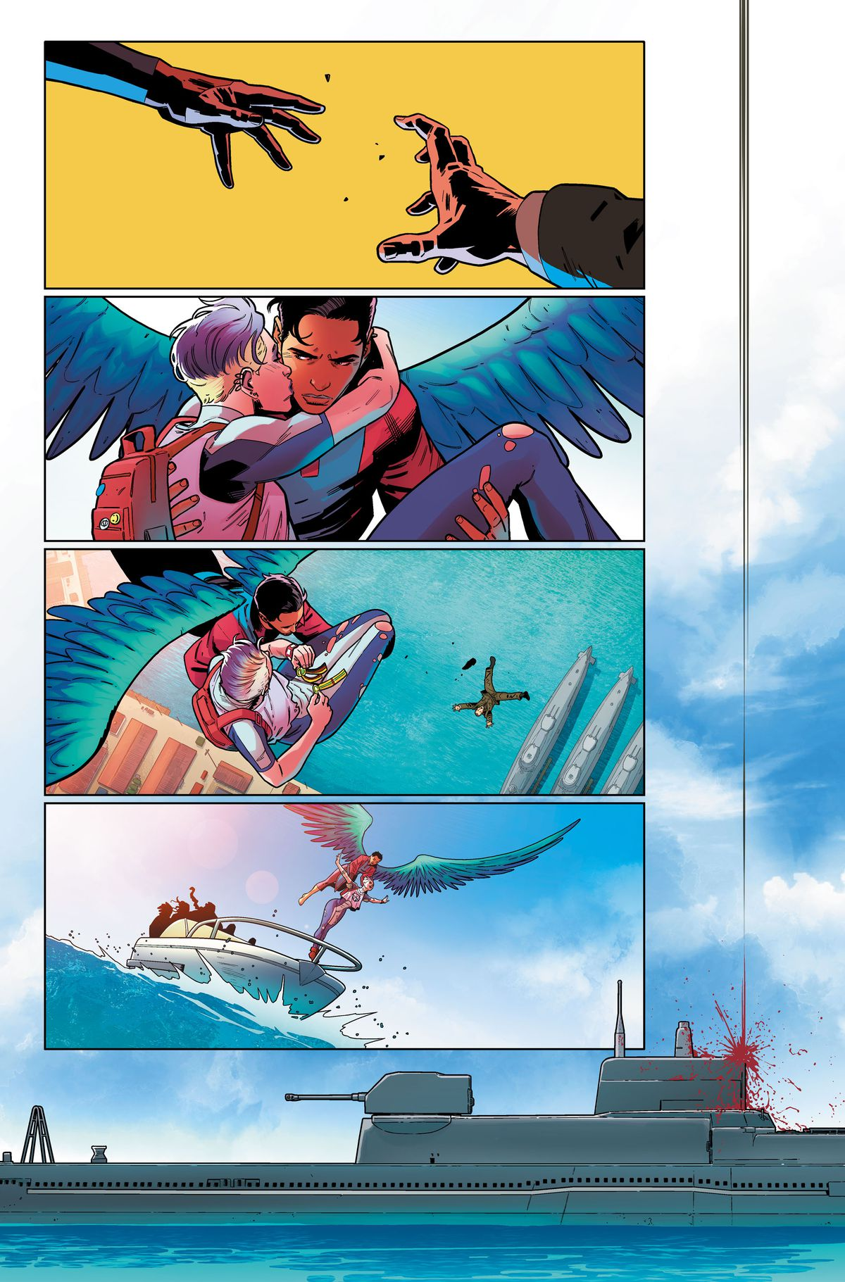 Aerie drops the man, while Blink kisses them on the cheek. They land on a speedboat, while the man makes a bloody impact from a great height on the tower of a military submarine, in an unlettered page from Suicide Squad #1, DC Comics (2019).