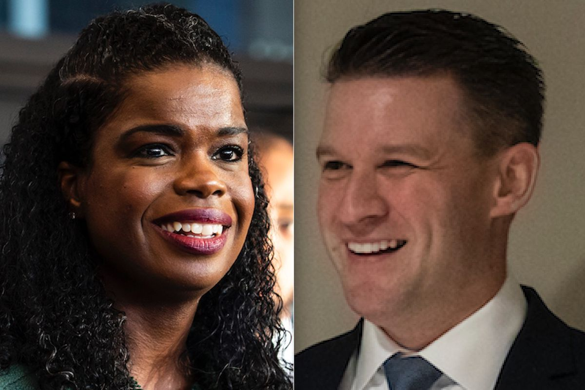 Cook County State's Attorney Kim Foxx, left, in December; Challenger Bill Conway, right, in November.