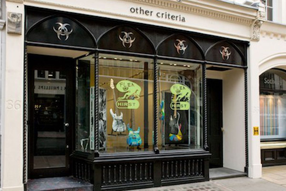 """The <a href=""""https://othercriteria.com/blog/2011/11/10/launch-photos-damien-hirst-and-flea-spin-guitars"""">Other Criteria</a> shop in London"""