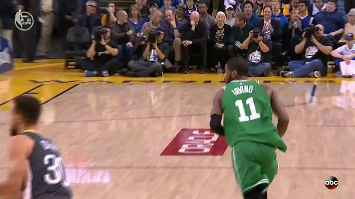 32bb05e8e61 Kyrie untucking his jersey is the equivalent to Goku going Super Saiyan 3.  When the team needs him most