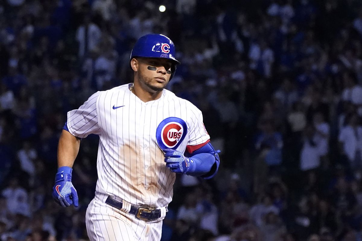 The Cubs' Willson Contreras rounds the bases after hitting a two-run home off San Diego Padres starting pitcher Ryan Weathers in the fifth inning Tuesday.