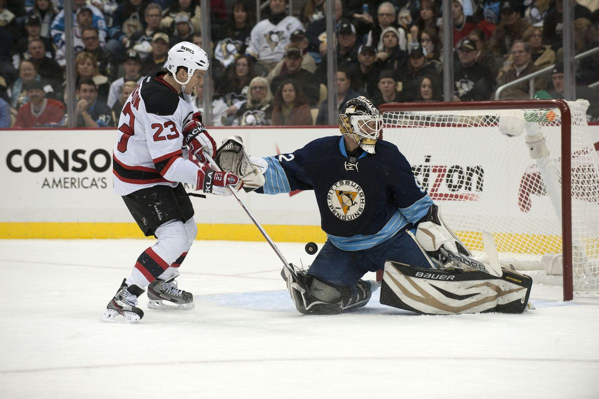 Pictured: David Clarkson scoring his ninth of the season, Tomas Vokoun looking the other way.