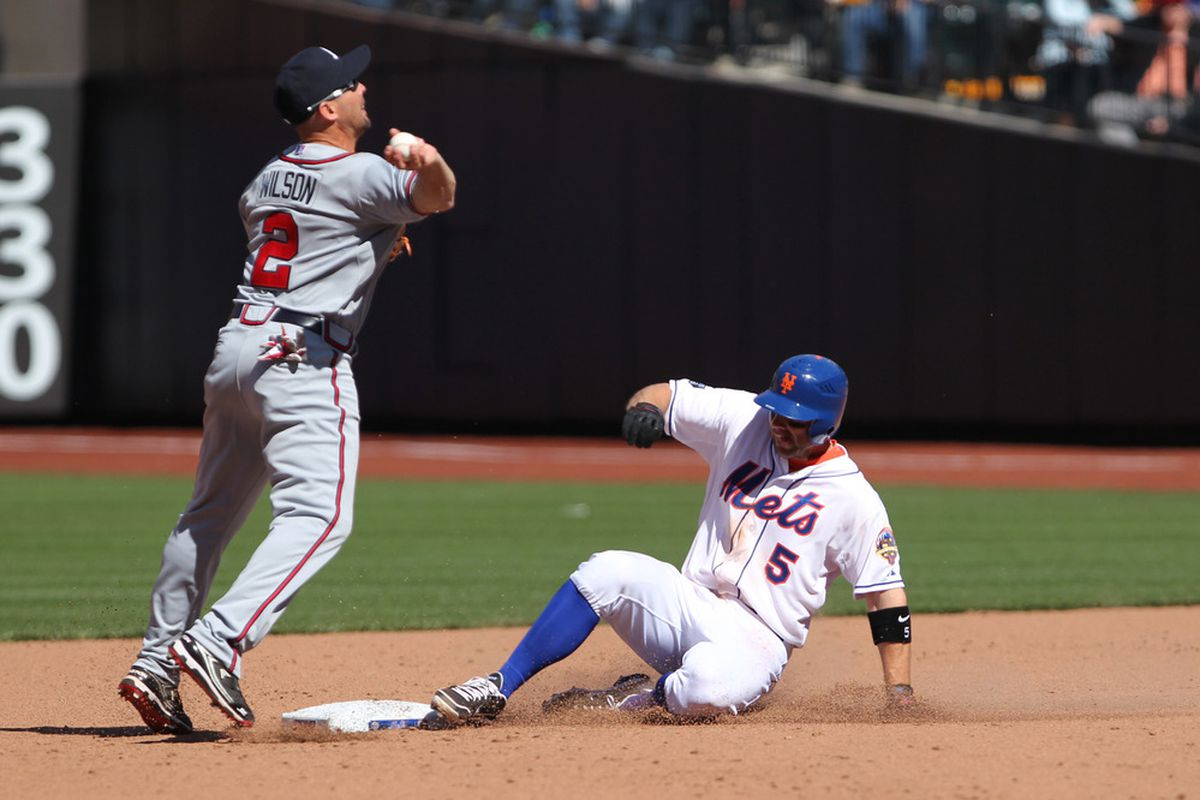 David Wright and the New York Mets take on the Atlanta Braves at Turner Field. Credit: Anthony Gruppuso-US PRESSWIRE