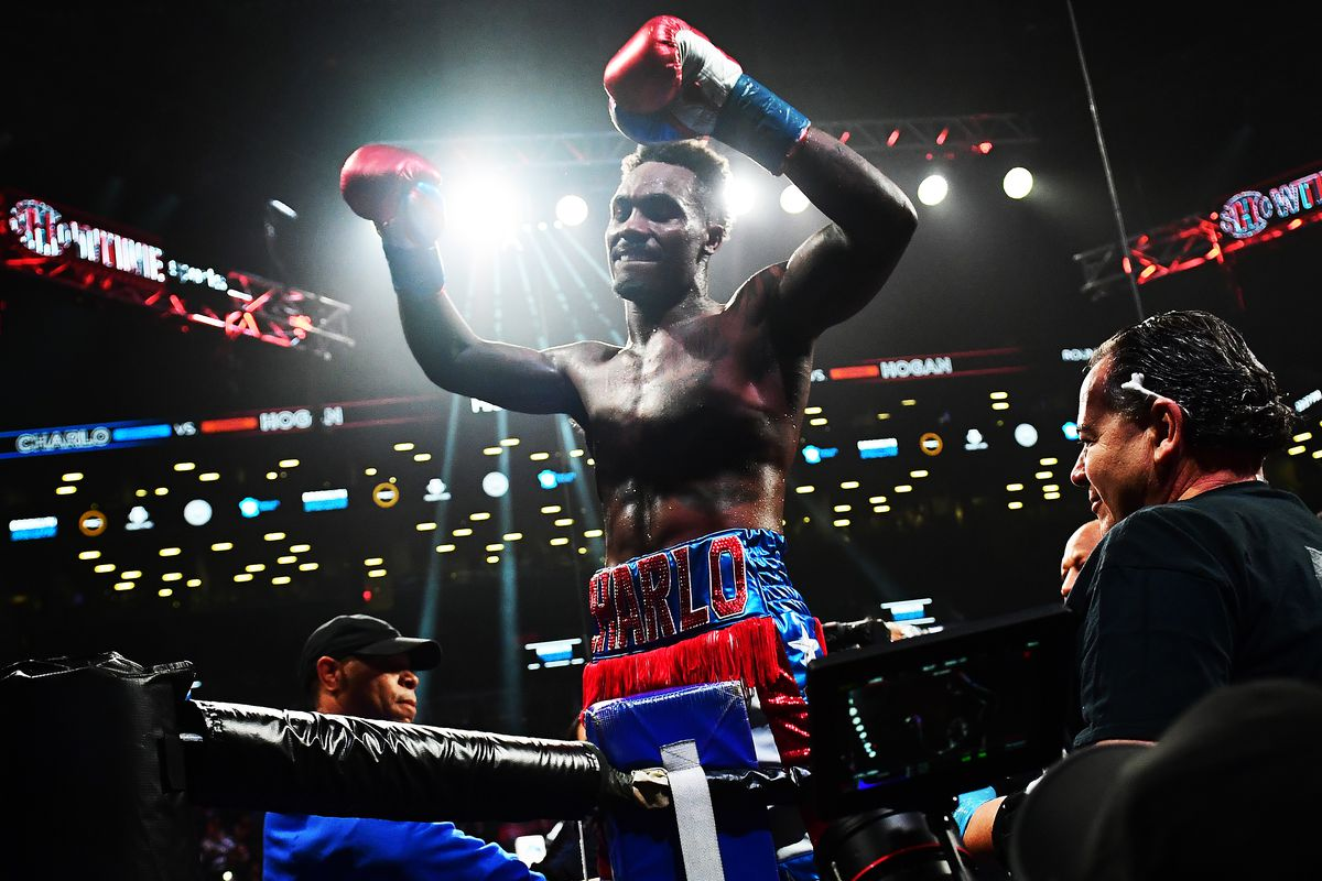 Jermall Charlo of the United States celebrates his WBC World Middleweight Championship against Dennis Hogan of Ireland at Barclays Center on December 07, 2019 in the Brooklyn borough of New York City.