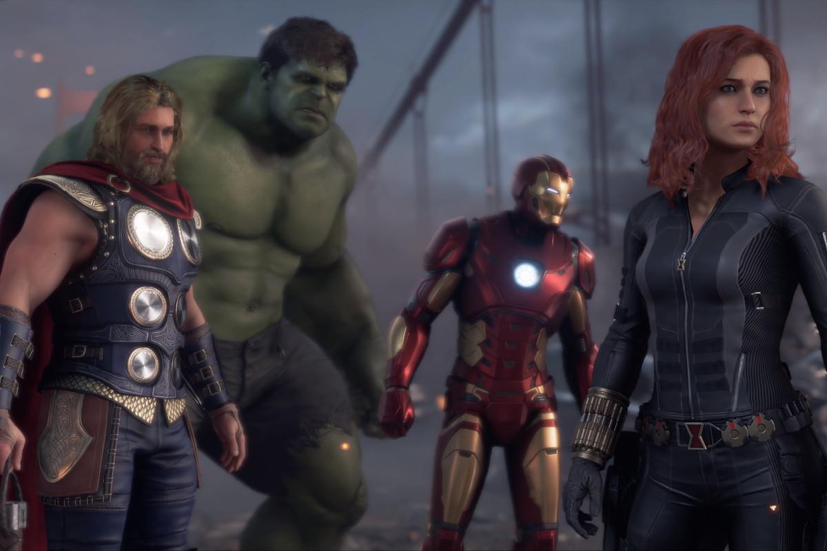Hulk, Iron Man, Thor, and Black Window in Marvel's Avengers
