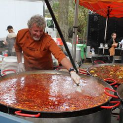 Great entertainment: tending the massive pans at Gerard's Paella.