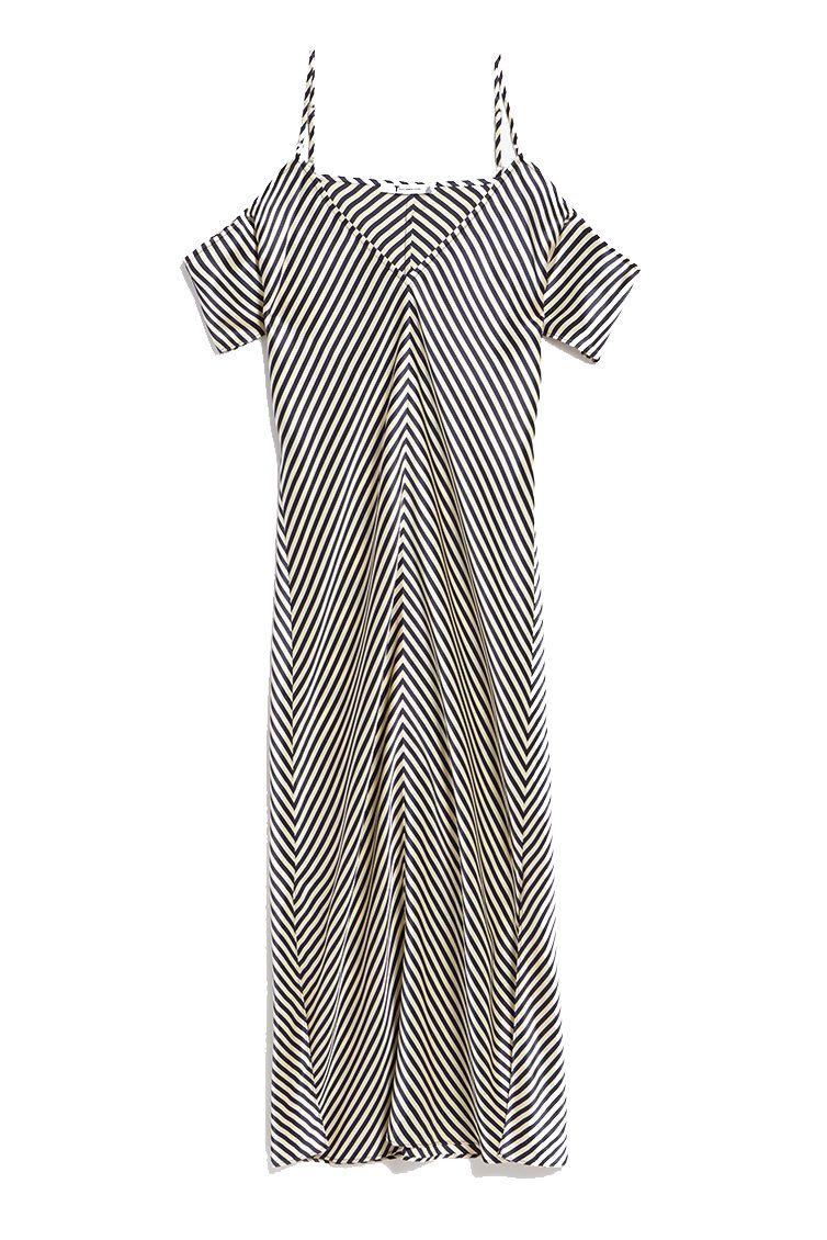 A striped cold shoulder dress