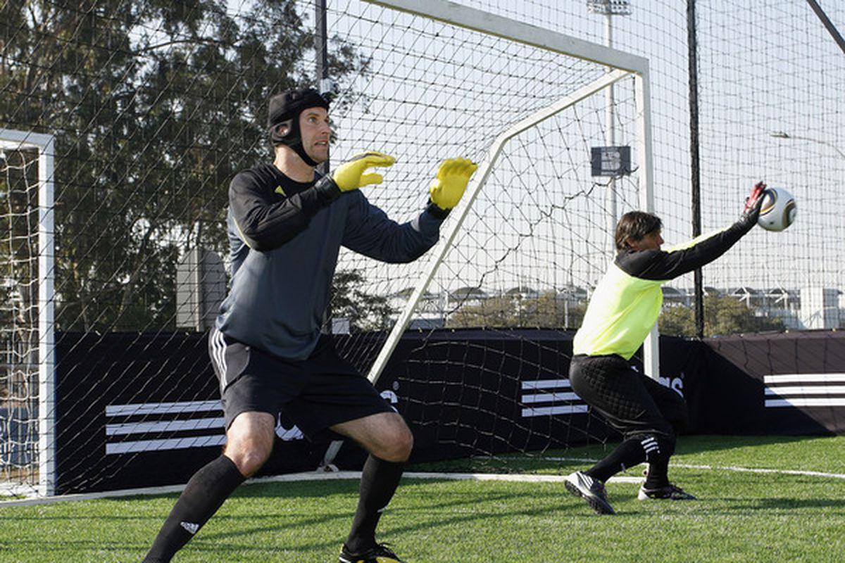 JOHANNESBURG, SOUTH AFRICA - JUNE 25:  Petr Cech (L) and Sergio Goycochea make saves during the adidas Penalty Day event at the Wanderers in Illovo on June 25, 2010 in Joahannesburg, South Africa.  (Photo by Dominic Barnardt/Getty Images for adidas)