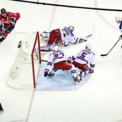 Ovechkin Takes Puck Behind Rangers Net