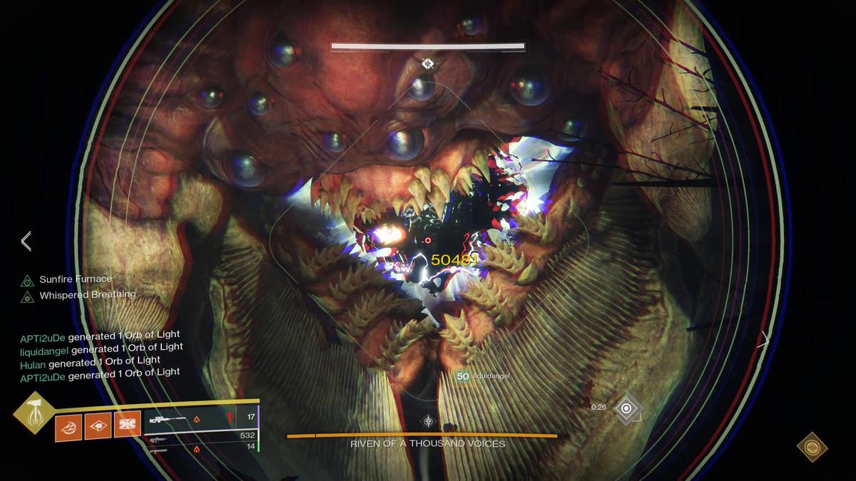 Destiny 2: Forsaken - fighting Riven, the final boss of the Last Wish raid