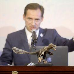 Rep. Steve Eliason, R-Sandy, discusses HB322, which would create Utahraptor State Park in the Dalton Wells area near Moab, during a press conference at the Capitol in Salt Lake City on Friday, Feb. 14, 2020.