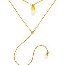 """Pearl bulb layered necklace, <a href=""""http://www.baublebar.com/pearl-bulb-layered-necklace.html"""">$58</a>"""