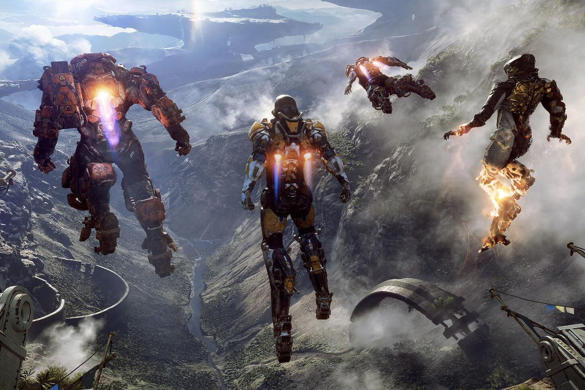 four people in exosuits hover high in the air above a river valley