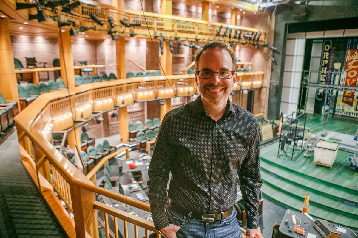 """Daryl Cloran, adapter & director of """"As You Like It"""" inside the Shakespeare Theater in Navy Pier Friday morning, Sept. 17, 2021."""