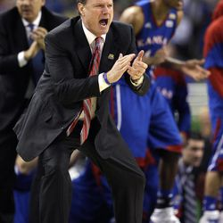 Kansas head coach Bill Self calls out during the second half of the NCAA Final Four tournament college basketball championship game against Kentucky, Monday, April 2, 2012, in New Orleans.