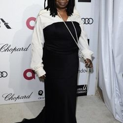 """""""<strong>Whoopi Goldberg</strong>. Now I love me some Whoopi, but her look was just tragic. The pirate """"yo ho ho"""" shirt worn under the boring ugly dress, mixed with pearls and <em>Wizard of Oz</em> inspired shoes and socks— it was like watching a nightmar"""