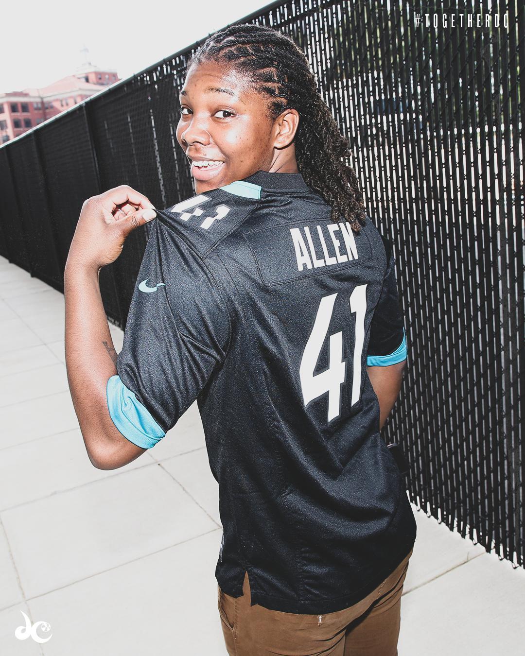 Myisha Hines-Allen wears Josh Allen jersey