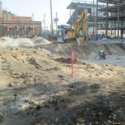 11:58 a.m. View looking east, into the broadcast lot. Major excavation project taking place here -