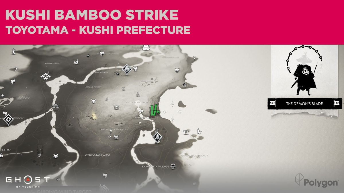 The Bamboo Strike location in Kushi in Ghost of Tsushima