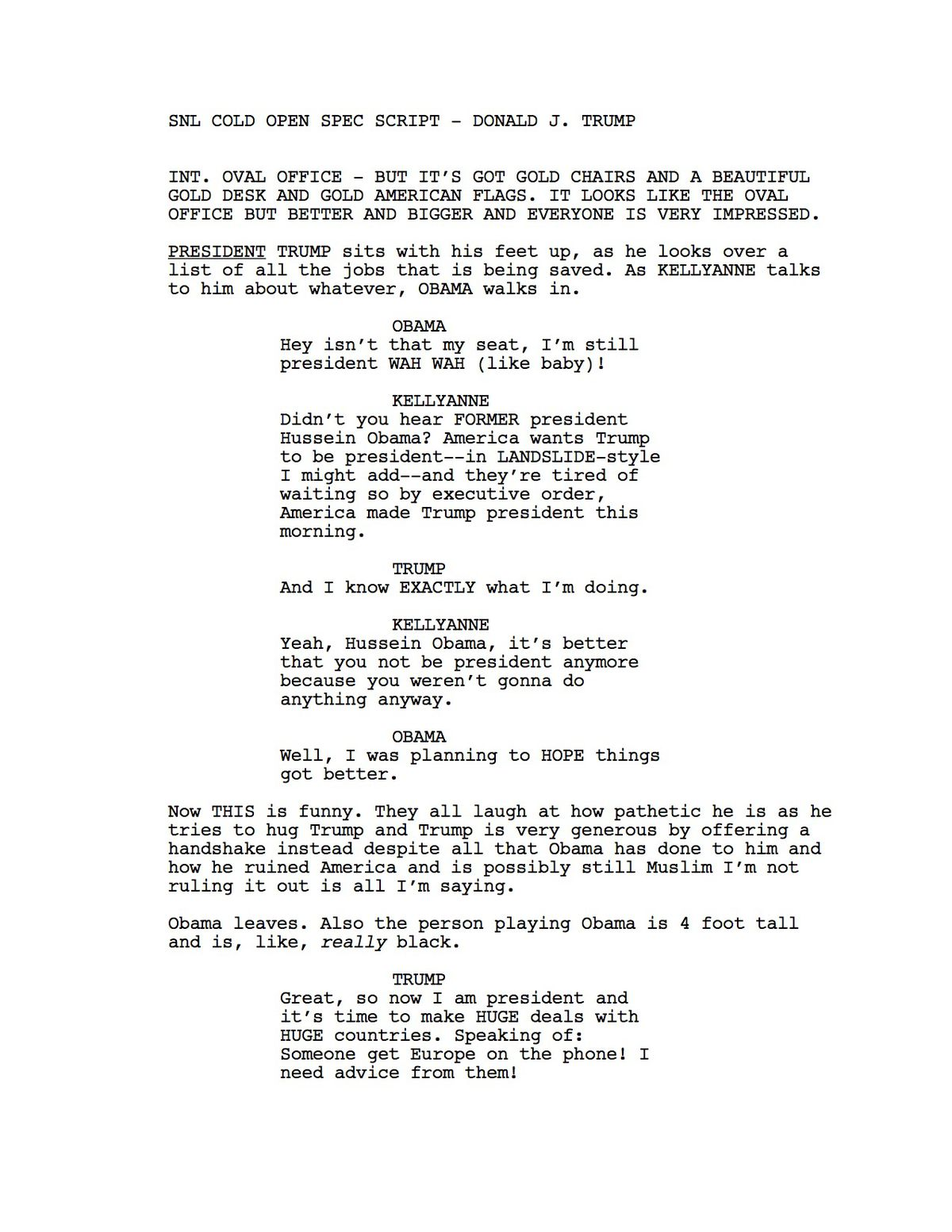 Read Donald Trump's Rejected SNL Script - Funny Or Die
