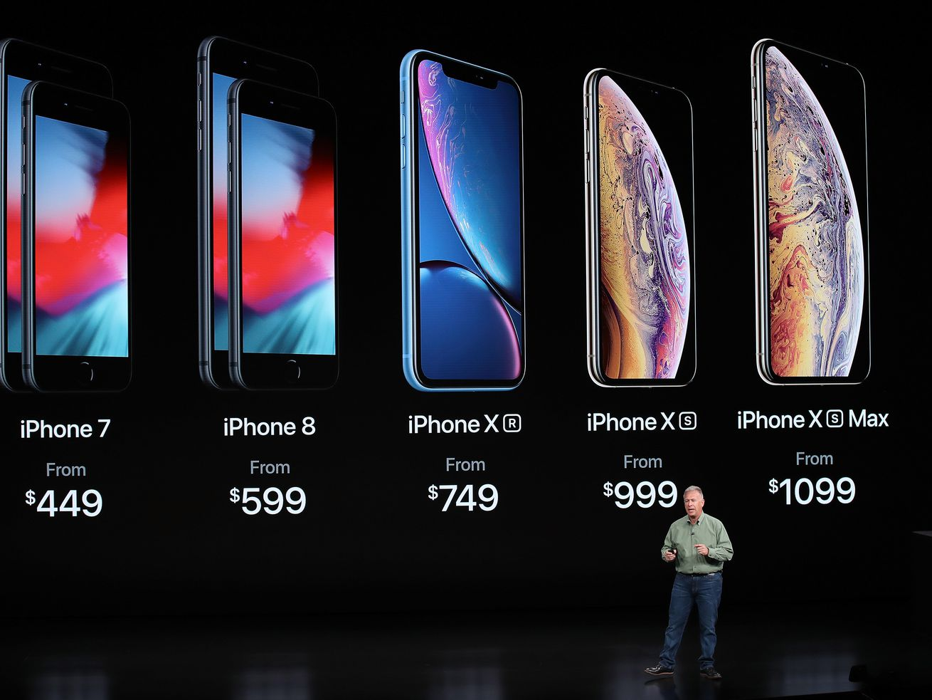 Phil Schiller, senior vice president of worldwide marketing at Apple, discusses the company's new iPhones at an event on Wednesday.