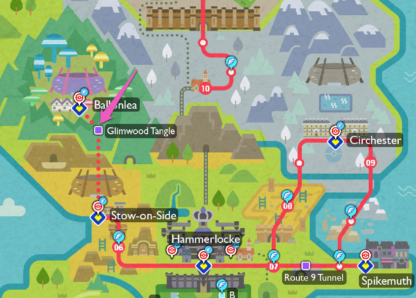 A map of where to find Galarian Ponyta, with a pink arrow pointing at Glimwood Tangle