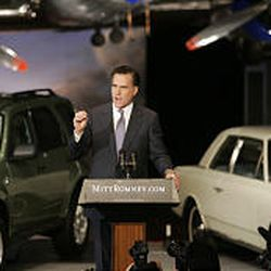 Gov. Mitt Romney announces his candidacy for president at The Henry Ford Museum in Dearborn, Mich., Tuesday.