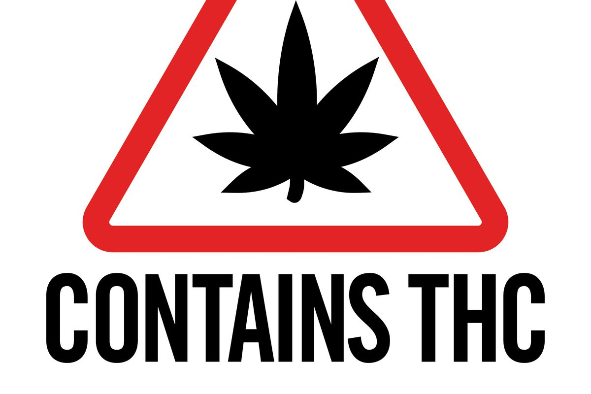 This symbol has been adopted by the state of Maine to be used on marijuana products sold for adult consumption. It warns that the product contains the active ingredient tetrahydrocannabinol.