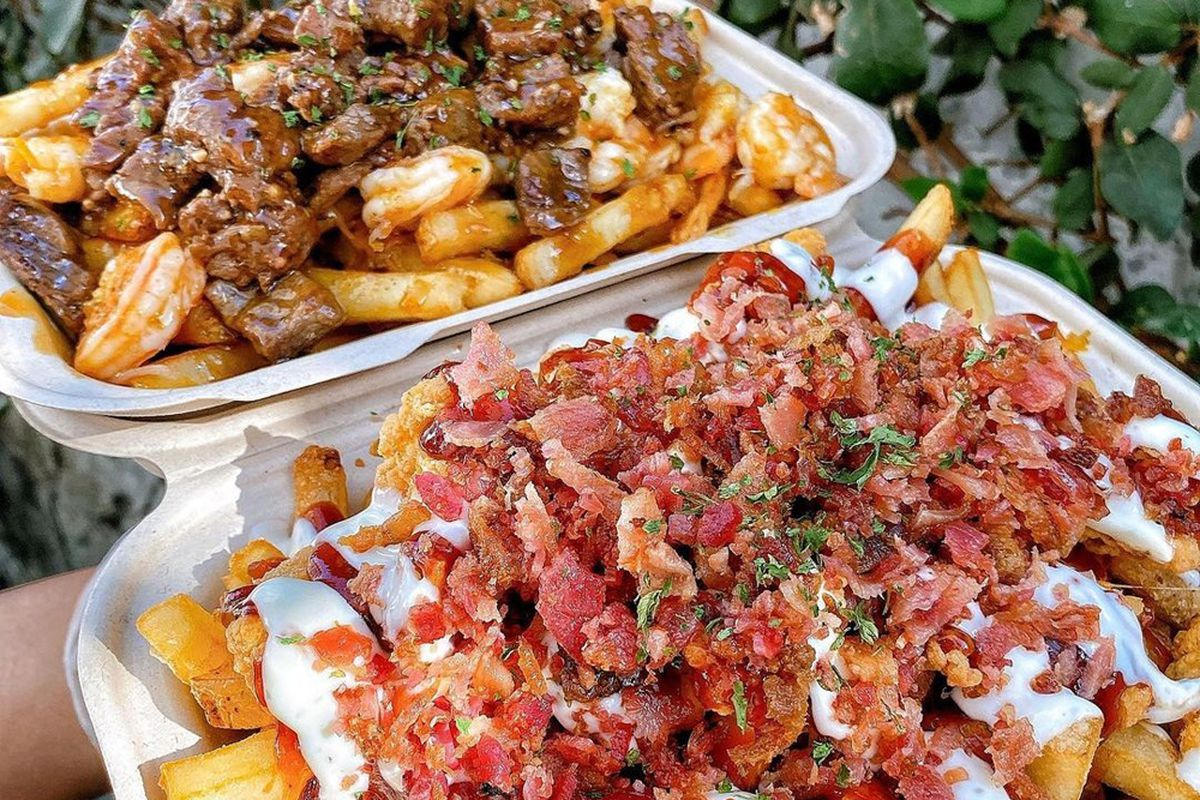 Steak and shrimp, and chicken bacon Parmesan French fry platters, on the menu at Mr. Fries Man.