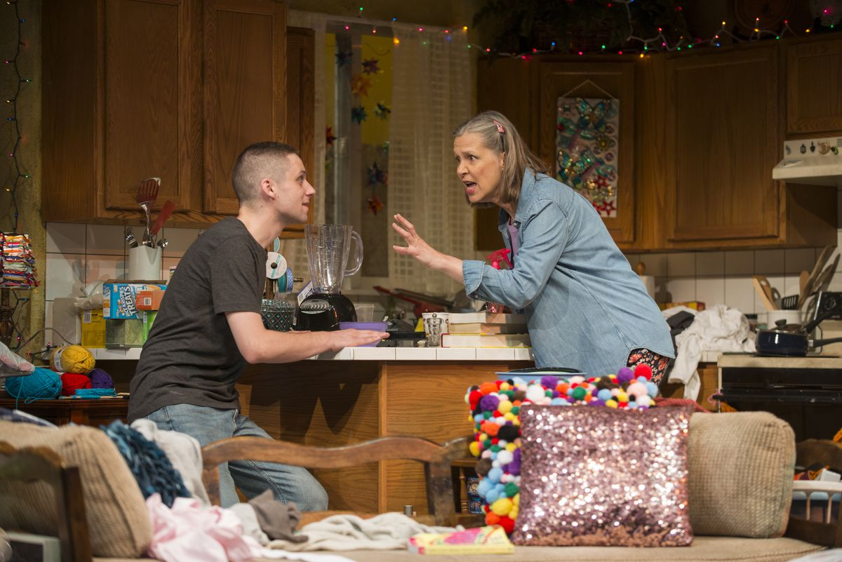 """Ty Olwin plays Isaac, a recently returned-from-active duty Marine, and Amy Morton plays his mother, Paige, in Taylor Mac's """"Hir,"""" at Steppenwolf Theatre. 