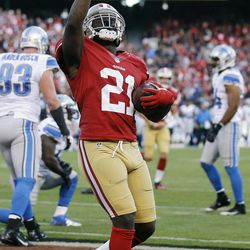 San Francisco 49ers running back Frank Gore celebrates after scoring a touchdown during the second quarter of an NFL football game against the Detroit Lions in San Francisco, Sunday, Sept. 16, 2012.