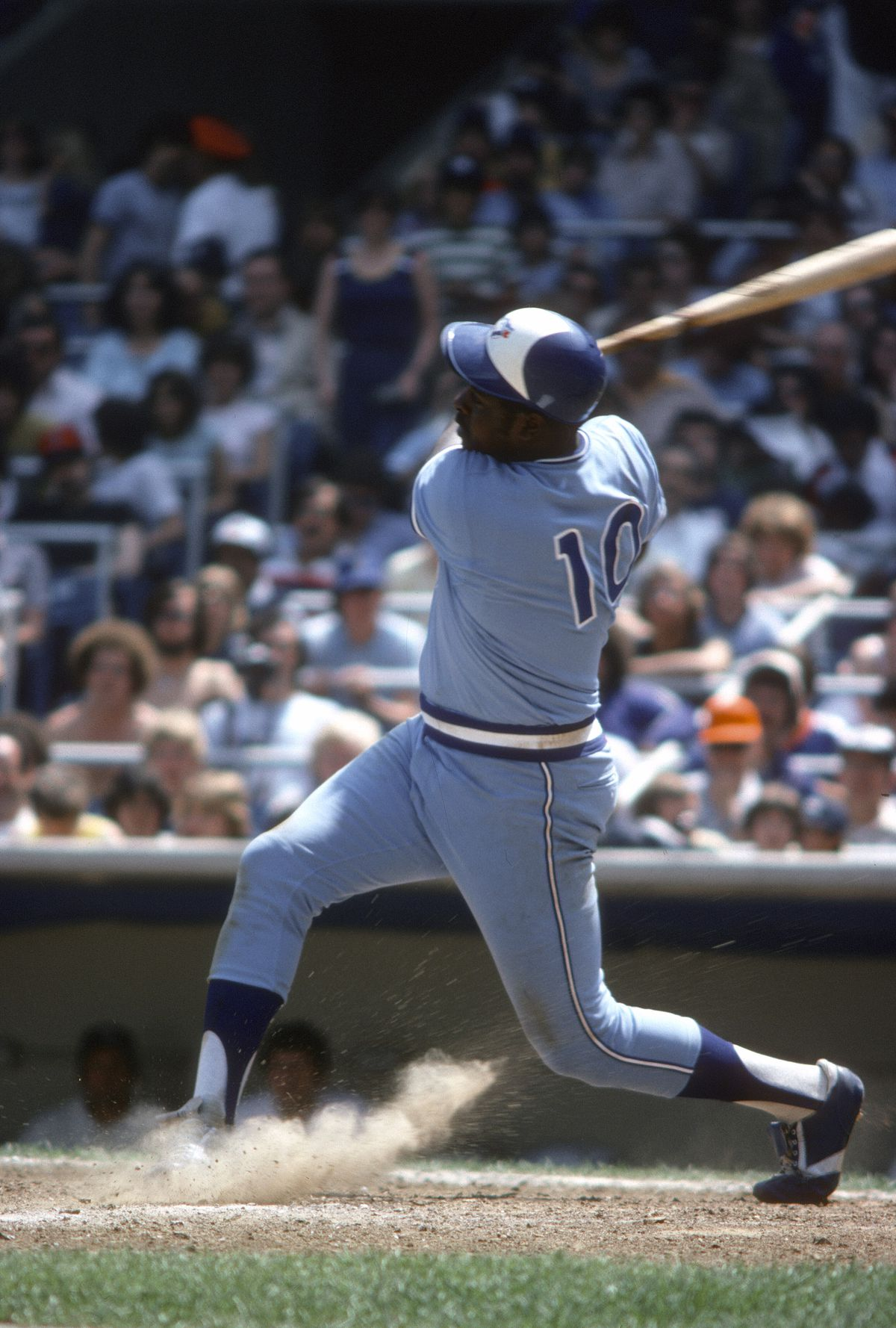 John Mayberry shows off his #10 on a swing in 1978.
