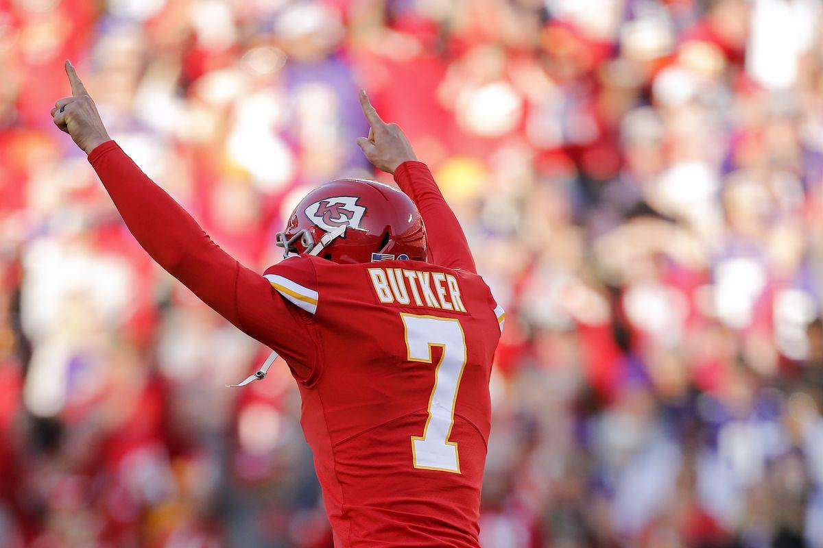 Chiefs kicker Harrison Butker celebrates his game-winning 44-yard field goal Sunday against the Vikings in Kansas City, Mo.