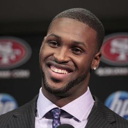 San Francisco 49ers first round draft pick  A.J. Jenkins, a wide receiver from Illinois,  smiles during an NFL football news conference at the team's headquarters in Santa Clara, Calif., Friday, April 27, 2012.
