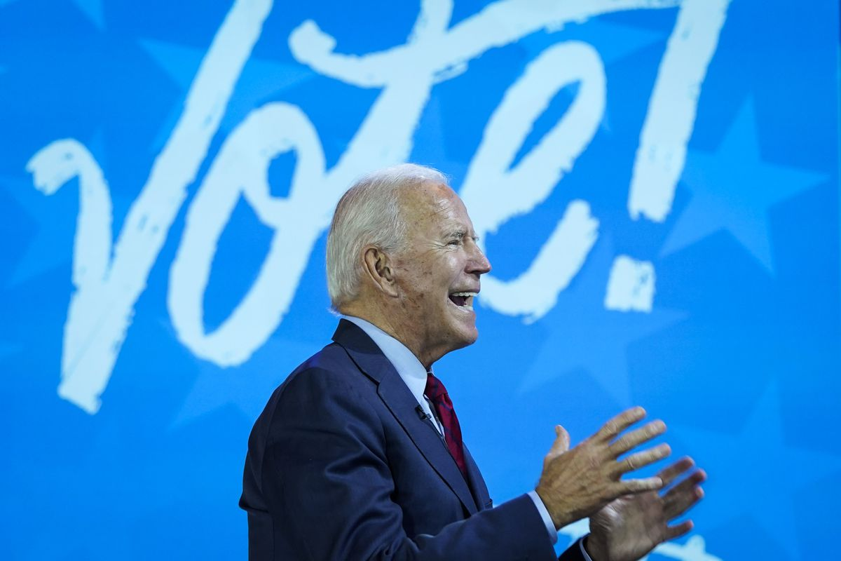 Democratic presidential nominee Joe Biden speaks during a virtual town hall event with Oprah Winfrey at The Queen theater on October 28, 2020 in Wilmington, Delaware.