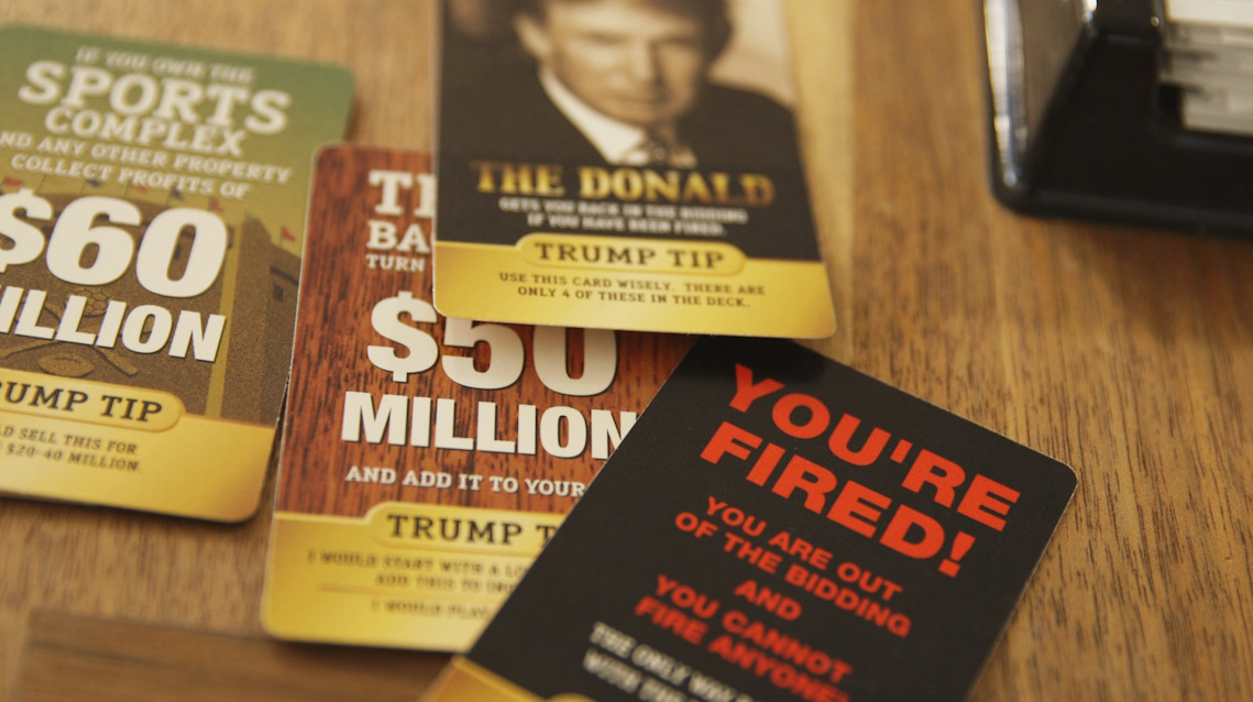 """Four cards from Trump: the Game, including a """"The Donald"""" card and a """"You're Fired! card"""