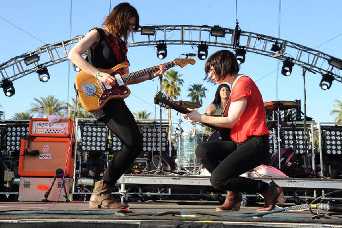 Mary Timony, Janet Weiss and Carrie Brownstein perform at Coachella as the band Wild Flag