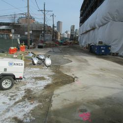 1:07 p.m. Waveland Avenue, next to the plaza building -