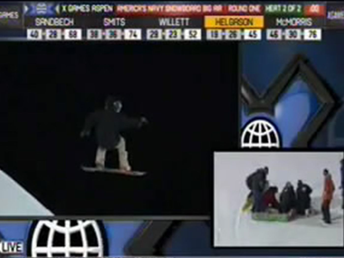 X Games snowboarding competitor Halldór Helgason wipes out