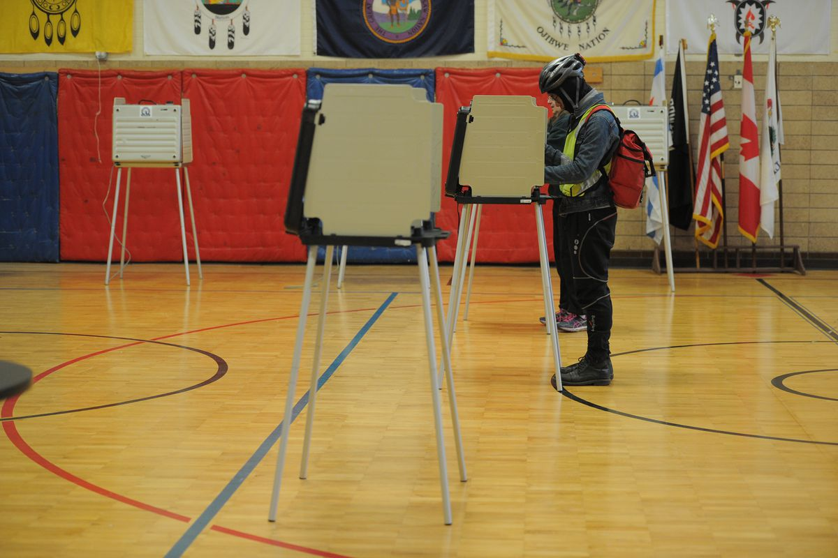 Voters at the polling station at American Indian Center, located in Chicago's Kimball neighborhood on Election Day, April 2, 2019.