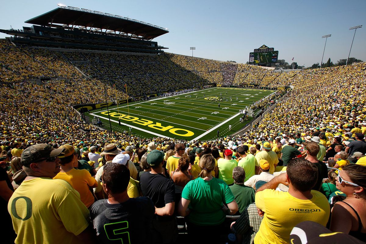 EUGENE, OR - SEPTEMBER 10:  A general view during the game betweenthe Oregon Ducks and the Nevada Wolf Pack on Sept. 10, 2011, at the Autzen Stadium in Eugene, Ore.  (Photo by Jonathan Ferrey/Getty Images)