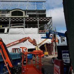 Construction equipment on Addison side